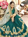 photo of Teal Chanderi Silk Designer Saree With Embroidery Designs