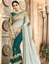 image of Teal Chanderi Silk Designer Saree With Embroidery Designs