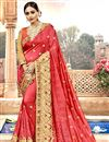 image of Red Embroidery Designs On Chanderi Silk Occasion Wear Saree