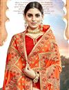 photo of Embroidery Work On Party Wear Chanderi Silk Saree In Orange