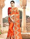 image of Embroidery Work On Party Wear Chanderi Silk Saree In Orange