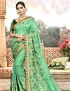 image of Chanderi Silk Designer Saree In Sea Green With Embroidery Work