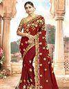 image of Embroidery Work On Chanderi Silk Festive Wear Saree In Maroon