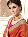 photo of Orange Occasion Wear Cotton Silk Saree With Jacquard Work