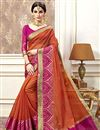 image of Orange Occasion Wear Cotton Silk Saree With Jacquard Work