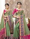 image of Jacquard Work Sea Green Cotton Silk Function Wear Saree