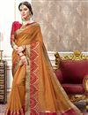 image of Rust Color Cotton Silk Designer Saree With Jacquard Designs