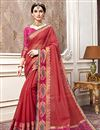 image of Red Jacquard Designs On Cotton Silk Occasion Wear Saree