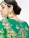 picture of Designer Sangeet Wear Satin Silk Fabric Lehenga With Embroidery In Green