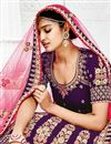 photo of Velvet Fabric Wedding Wear Lehenga Choli With Work In Purple Color