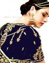 picture of Designer Sangeet Wear Navy Blue Lehenga With Embroidery In Velvet Fabric