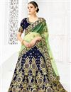 image of Designer Sangeet Wear Navy Blue Lehenga With Embroidery In Velvet Fabric