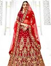 image of Wedding Wear Maroon Lehenga Choli With Work In Velvet Fabric