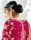 picture of Banarasi Fabric Wedding Wear Designer Embellished Lehenga Choli In Rani Color