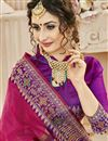 photo of Weaving Work On Cotton Silk Function Wear Rani Color Saree