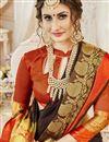 photo of Cotton Silk Brown Designer Saree With Weaving Designs