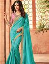image of Turquoise Art Silk Wedding Wear Saree With Embroidery Work And Beautiful Blouse