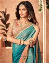 photo of Art Silk Teal Occasion Wear Saree With Embroidery Work And Mesmeric Blouse