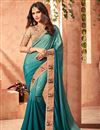 image of Art Silk Teal Occasion Wear Saree With Embroidery Work And Mesmeric Blouse