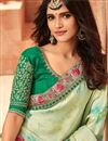 photo of Sea Green Designer Embroidered Saree In Art Silk Fabric With Attractive Blouse