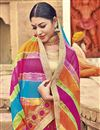 photo of Bandhani Style Multi Color Fancy Print Saree In Georgette Fabric