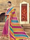 image of Bandhani Style Multi Color Fancy Print Saree In Georgette Fabric
