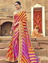 image of Georgette Badhani Style Fancy Print Saree In Multi Color
