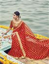 image of Red Bandhani Print Georgette Fancy Saree