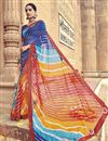 image of Georgette Bandhani Print Style Fancy Saree In Multi Color