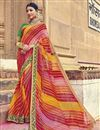 image of Bandhej Print Fancy Saree In Multi Color Georgette Fabric