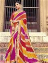 image of Badhani Style Fancy Print Saree In Multi Color