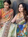 photo of Art Silk Function Wear Saree In Multi Color With Digitally Printed Designs
