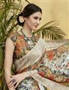 photo of Art Silk Off White Digital Print Ethnic Wear Saree With Blouse
