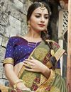 photo of Embroidery Work On Khaki Color Function Wear Chanderi Silk Saree