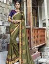 image of Embroidery Work On Khaki Color Function Wear Chanderi Silk Saree