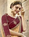 photo of Chikoo Color Embroidery Designs On Chanderi Silk Party Wear Saree