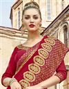 photo of Embroidery Work On Crimson Color Chanderi Silk Festive Wear Saree