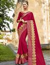 image of Embroidery Work On Crimson Color Chanderi Silk Festive Wear Saree