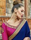 photo of Embroidery Work On Party Wear Chanderi Silk Saree In Navy Blue