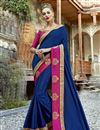 image of Embroidery Work On Party Wear Chanderi Silk Saree In Navy Blue