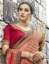 photo of Chanderi Silk Embroidered Function Wear Saree In Peach Color