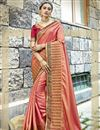 image of Chanderi Silk Embroidered Function Wear Saree In Peach Color