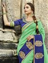 photo of Sea Green Traditional Chanderi Silk Saree With Embroidery Work