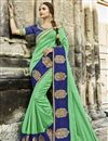 image of Sea Green Traditional Chanderi Silk Saree With Embroidery Work