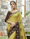 photo of Embroidery Work On Festive Wear Chanderi Silk Saree In Mustard
