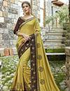 image of Embroidery Work On Festive Wear Chanderi Silk Saree In Mustard