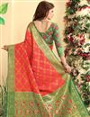photo of Patola Style Pink Color Jacquard Silk Designer Saree With Weaving Designs