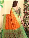 photo of Weaving Work On Orange Patola Style Jacquard Silk Festive Wear Saree