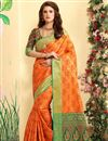 image of Weaving Work On Orange Patola Style Jacquard Silk Festive Wear Saree
