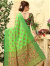 photo of Weaving Work On Patola Style Party Wear Jacquard Silk Saree In Sea Green